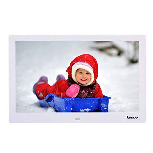 Digitaler Bilderrahmen, Elektronischer Fotorahmen 15.4 Zoll Full HD 1080P Display mit Kalender/Alarm/Foto/Musik/Video Player/Auto on/Off Timer mit Fernbedienung,Weiß