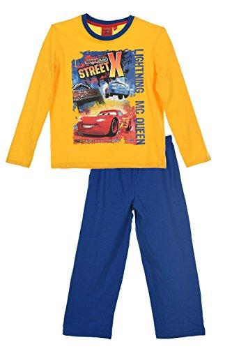 Disney Cars Pyjama Schlafanzug (2060) - Langarm & Lange Hose, Gelb-Blau, Gr. 128 (Langarm-pyjamas Gelb,)