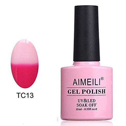 AIMEILI Soak Off UV LED Température Changement de Couleur Chameleon Vernis à Ongles Gel Semi-Permanent - Hot Pink To White (TC13) 10ml