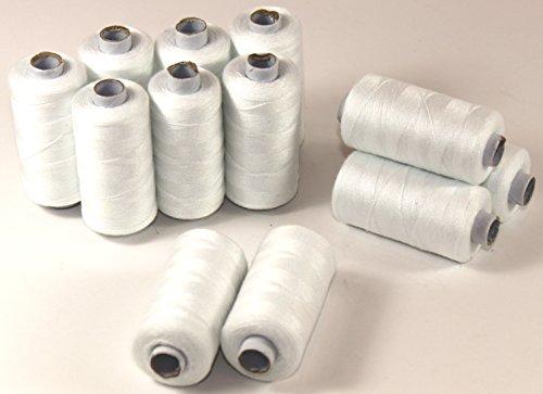 Fil à coudre blanc rouleau de 500 m de fil à coudre 100 % polyester allesnäher fils 026, 24 Stück