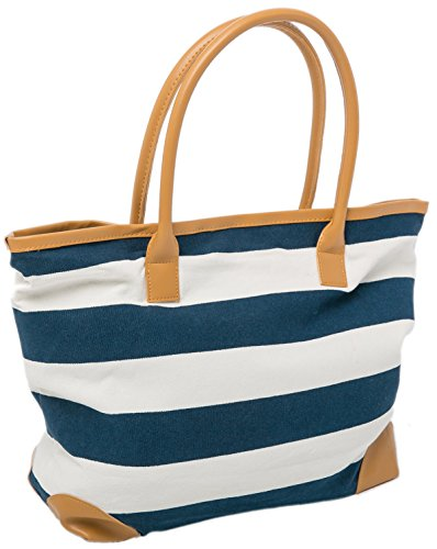 Airee Fairee Canvas Beach Bag - Striped Nautical Shopper with Magnetic Clasp, Blue