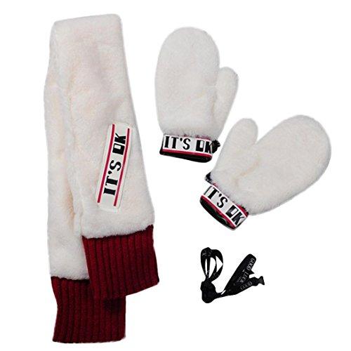 Damen Mädchen Niedlichen Cartoon Plüsch Handschuhe Handschuhe Hängenden Hals Handschuhe Schal Sets Von Dragon868 (Weiß) (Cartoon-handschuhe Weiß)