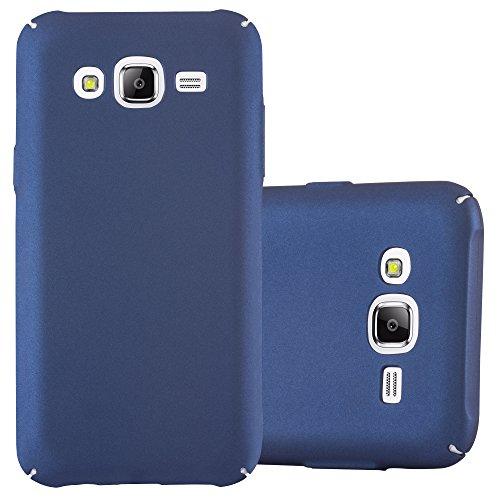 Preisvergleich Produktbild Cadorabo Hülle für Samsung Galaxy J5 2015 (5) - Hülle in Metall BLAU – Hardcase Handyhülle im Matt Metal Design - Schutzhülle Bumper Back Case Cover
