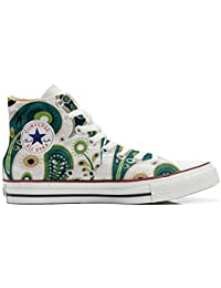 Converse All Star Customized - Zapatos Personalizados (Producto Artesano) White Green Paisley 1