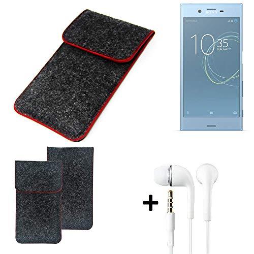 K-S-Trade® Filz Schutz Hülle Für Sony Xperia XZs Dual SIM Schutzhülle Filztasche Pouch Tasche Handyhülle Filzhülle Dunkelgrau Roter Rand + Kopfhörer