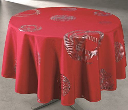 Access Deco Nappe Ronde, Polyester, Rouge, 160x160 cm