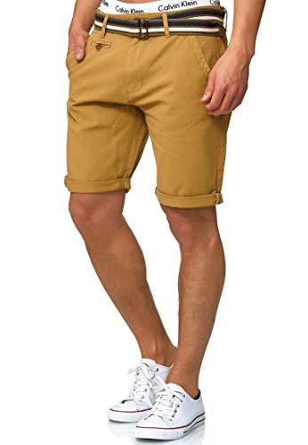 Indicode Herren Cuba Chino-Shorts Kurze Hose mit Gürtel aus 100% Baumwolle Amber 3XL - Adidas-stretch-shorts