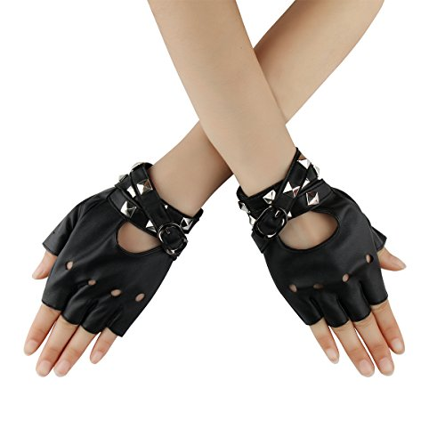 Cusfull Sexy Women Punk Rivets Gloves Belt Up Half Finger PU Leather Performance Gloves Rock Gothic Style (Black) steampunk buy now online