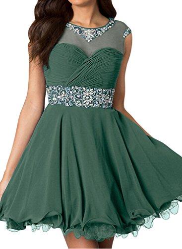 Milano Bride Damen Schick Royalblau Chiffon Abendkleider Ballkleider Heimkehrkleider Promkleider Kristall Kurz Mini Grün