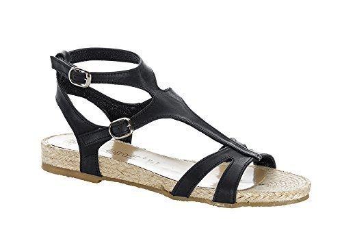 Sandalette Verão De Couro De Chillany - Cor Preta