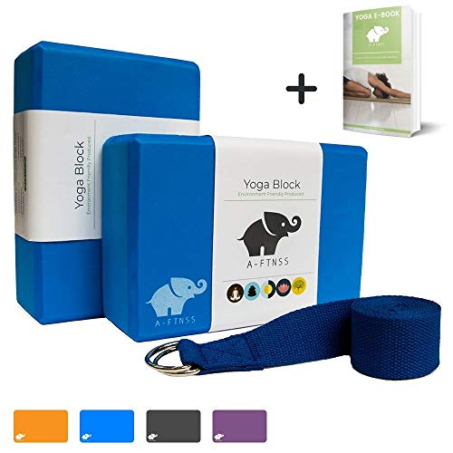 A-FTNSS Yoga Block Set (2 Blocks und Gurt) Schaumstoff Umweltfreundlich Leicht Griffig Fitness Pilates Anfänger und…