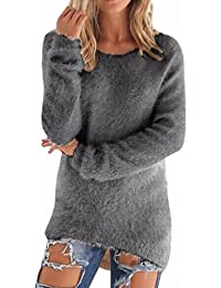 5940fe856025 Landove Pull Long Maille Femme Hiver Casual Solide Tunique Manches Longues  Col Rond Chandail Chaud Blouse