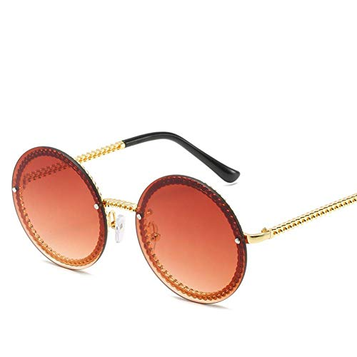 CHJKMN Persönlichkeit Metallkette Randlose Sonnenbrille Männer und Frauen Modetrend Runde Sonnenbrille UV400