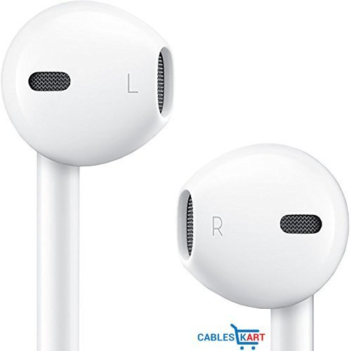 Cables Kart™ AAA+ High Quality Stereo & Bass Hands-free Earphone 3.5mm Mic For Iphone, Ipad, Ipod, android devices Stereo Headset (White) 1 Years Warranty