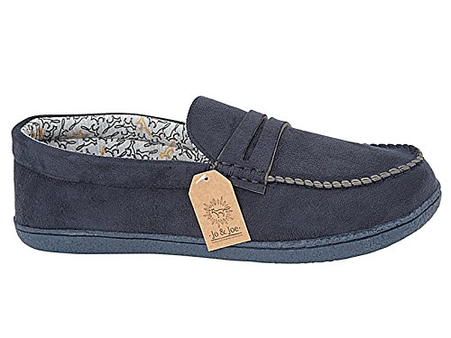 Mens Oakham Faux Suede Textile Lined Moccasin Slippers Shoes Size 7-12 (UK 8, Navy Blue)