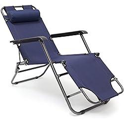 Relaxdays Sedia Sdraio Relax Reclinabile, Tre Posizioni Disponibili e Poggiatesta Rimuovibile, Blu Scuro, 153x60.5x35 cm