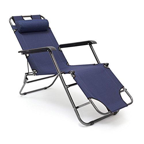 Relaxdays 10020080 Chaise longue de camping pliante transat de plage pliable avec accoudoirs et appuie-tête amovibles 3 positions réglables, bleu foncé 35 x 60,5 x 153 cm