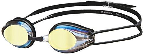 arena Erwachsene Unisex Wettkampf Schwimmbrille Tracks Mirror, Gold Black, one Size