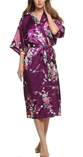 Avidlove Donna kimono in raso lunga vestaglia da notte Sleepwear Viola scuro