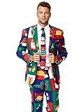 Opposuit Herren Anzug Weihnachtsmotive, Jacke Hose Krawatte Karneval Weihnachten (54)