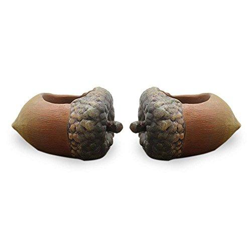 Gaocheng Blumentöpfe, 2Stück Kiefer Membran und Haselnuss Form Blumentopf für Kakteen und Sukkulenten, 12x 8x 5cm