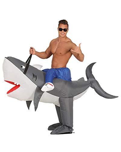 Aufblasbare Haifisch Kostüm - Horror-Shop Aufblasbares Haifisch Huckepack Kostüm für Fasching One Size