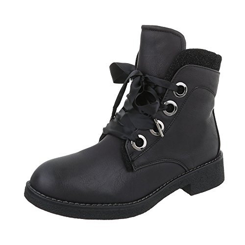 Chaussures femme Bottes et bottines Bloc Bottines a lacet Ital-Design Noir