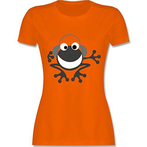 DJ - Discjockey - Discjockey Frosch - tailliertes Premium T-Shirt mit Rundhalsausschnitt für Damen Orange