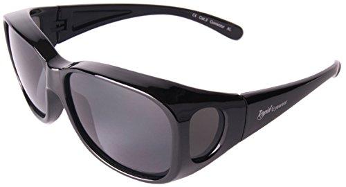 Rapid Eyewear Damen und Herren Schwarz Polarisierte Medium/groß ÜBERBRILLE Das Fit über Brillen. Sonnenüberbrille für Fahrrad, angeln, sport usw. UV400 Schutz