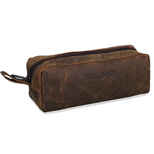 Stilord 'linus' astuccio in pelle grande portapenne portamatite portatrucco vintage per università scuola e ufficio uomo donna, colore:colorado - marrone