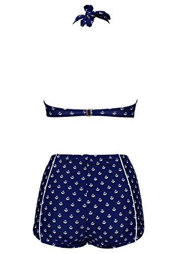 Damen Retro Badeanzug Bademode Bikini, blau-Anker, XXL -