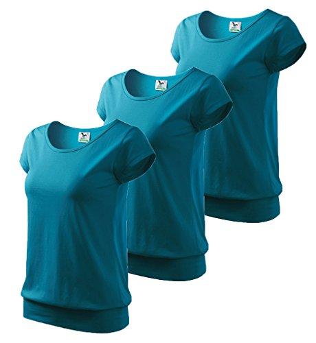 Dress-O-Mat Damen 3er Pack T-Shirt Shirt rundhals Bund Dunkel Türkis
