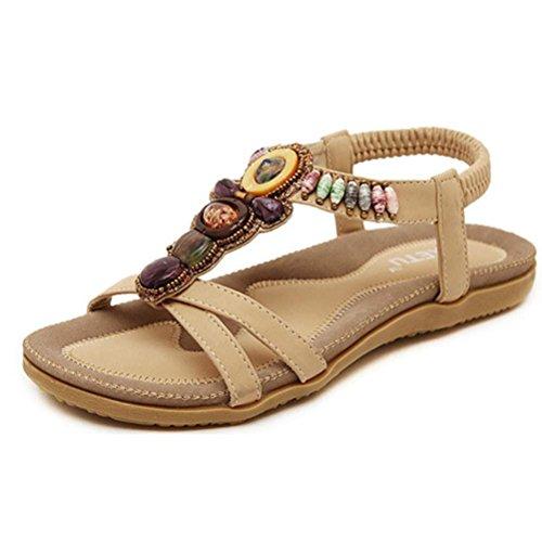 UFACE Simia Flache Schuhe Sandalen Slip Tragbare Modelle Damenmode süße Perlen Clip Toe Wohnungen Bohemian (39, Khaki)