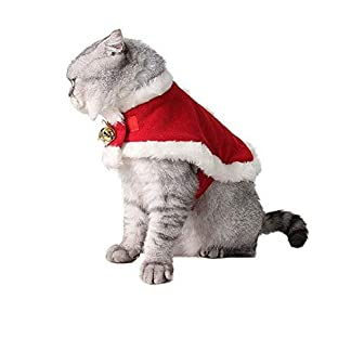 cheap4uk cat christmas costume, adjustable santa pet cape cat santa clothes xmas pet outfits with bells for small and large kitty & puppies cheap4uk Cat Christmas Costume, Adjustable Santa Pet Cape Cat Santa Clothes Xmas Pet Outfits with Bells for Small and Large Kitty & Puppies 41KaqMsRrBL