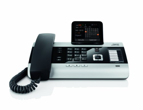 Gigaset DX600A Komfort Telefon - Schnurgebundes Telefon/Schnurtelefon -Anrufbeantworter - Farbdisplay - Freisprechen/Dect Telefon - ISDN - Schwarz/Silber
