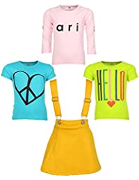 Gkidz Girls Pack of 3 Printed Cotton T-shirts with 1 Pack Stretchable Dungree Skirt (JG-GRAPHICCMB7_N_003DNGRE-YLW_Multicolor )