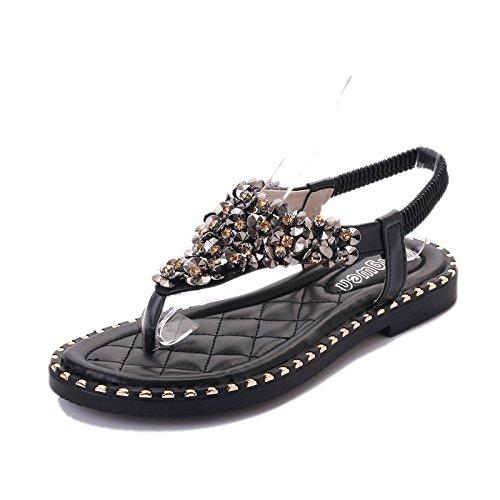 XY&GK Donna Sandali Estate bassa fondo piatto scarpe da punta con perline sandali dolce All-Match studenti donne Black