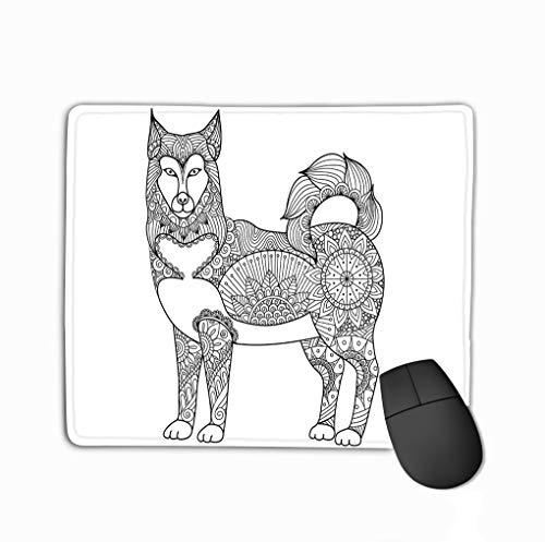 Rectangle Non-Slip Rubber Mousepad 11.81 X 9.84 Inch Alaskan Malamute Dog line Art Design Design Coloring Book Adult Stock -
