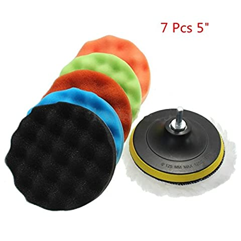 "Happyit 7 Pcs Car Polishing Disc Wool Polishing Wheel Car Beauty Waxing Sponge Plate + Wool Cushion + M14 Drilling Adapter Kit (5"")"