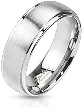 Bungsa® Ring Edelstahl gebürstet mit 2 hochglanzpolierten Aussenringen SCHMUCKRING für Damen und Herren silber...