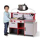Melissa & Doug Star Diner Restaurant, Play Set & Kitchen, Wooden Diner Play Set, Two Play Spaces in One