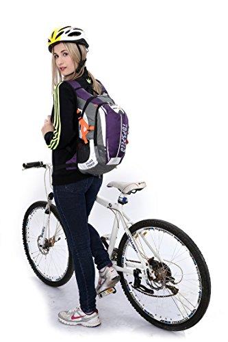 West Biking Zaino per ciclismo, corsa, trekking, campeggio, più durevole luce impermeabile borsa sportiva con grande tasche per multiuso ecc., Uomo Bambino donna, Black Purple