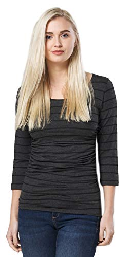 Süße 3/4 Ärmel T-shirt (Happy Mama. Damen Umstandsmoden Top Still T-Shirt 3/4 Ärmel. 1040p (Graphit Melange & Streifen, EU 38, M))