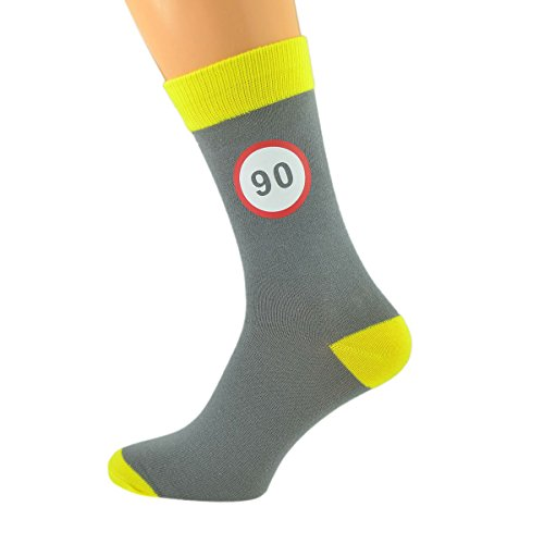 Ash Grey & Yellow Unisex Socks Road Sign 90th Birthday UK Size 5-12 X6N592