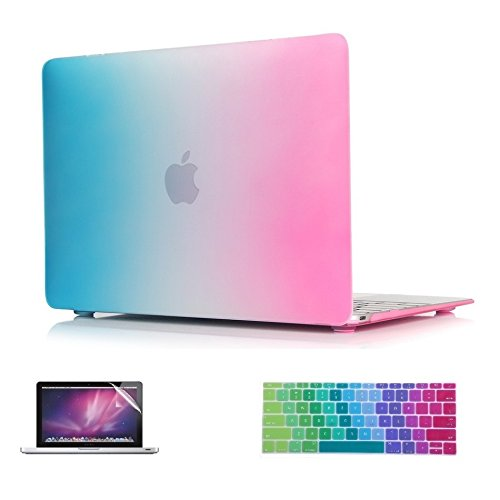 i-Buy 3in1 Kit Matte Hard Shell Case + Keyboard Cover + Screen Protector for Apple Macbook 12 inch with Retina Display (Model A1534) - Rainbow Hard Case Cover Screen