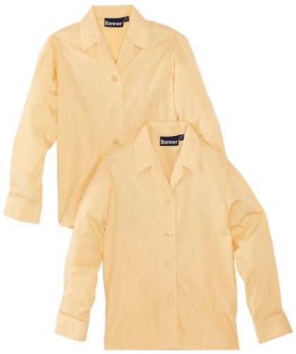 Blue Max Banner - Revere Twin Pack Long Sleeve School, Camicetta da bambine e ragazze,  manica lunga, collo button-down, Marrone(braun), XL