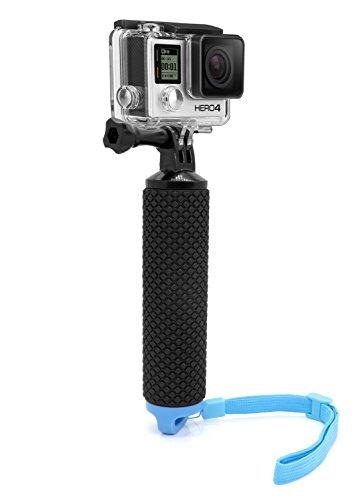 MyGadget Schwimmender Action Kamera Handler Stick - Rutschfester Handgriff Monopod Wasser Zubehör für z.B. GoPro Hero 7 6 5 4 3+ 3, Xiaomi Yi 4K - Blau -