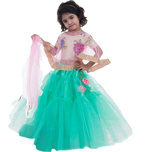 Aglare Girl'S Brocade & Crepe Net Pink Lehenga Choli (Sseagreen Pink_24_4-5 Years)