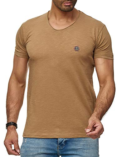 Herren T-Shirt Casual V-Neck Basic Shirt (XL, Caramel) - Casual V-neck T-shirt
