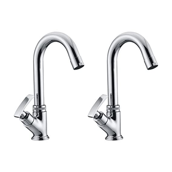 Drizzle Swan Neck Pillar Cock Soft Brass Chrome Plated/Wash Basin Tap / 360 Degree Moving Spout Tap/Bathroom Tap/Quarter Turn Tap/Water Foam Flow Tap - Set of 2